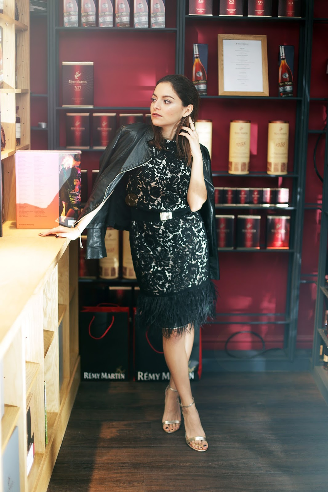 Whitney's Wonderland UK Luxury Fashion Blogger wears Kaliko lace feather dress for the Party Season Dress Editorial at La Maison Remy Martin