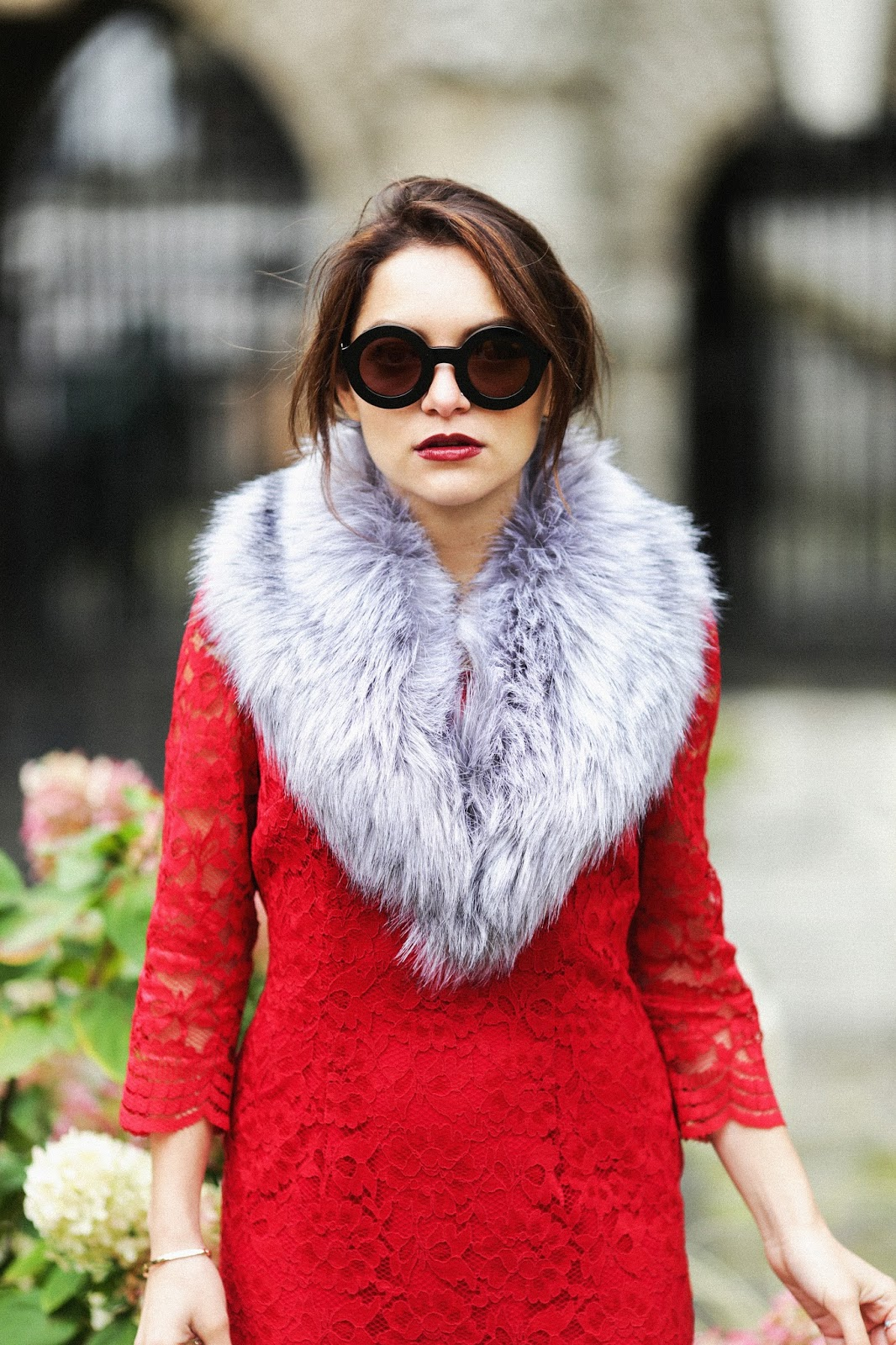Whitney's Wonderland London Luxury Fashion Blogger wears Precis Petite red lace dress, Wildfox twiggy deluxe round sunglasses, and Boden kensington blue knee high boots.