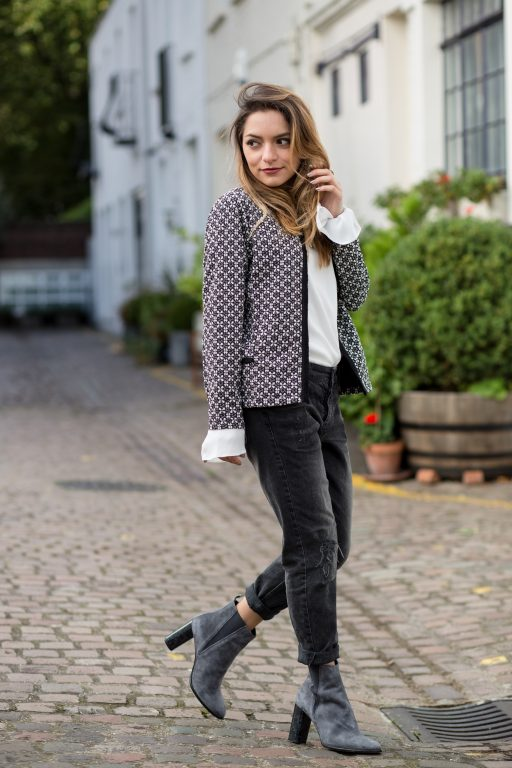 Whitney's Wonderland UK Top Fashion Blogger wears Wallis tweed jacket, Asos bell sleeves top, Uno de 50 necklace, Twist & Tango boyfriend jeans and Kurt Geiger grey ankle boots