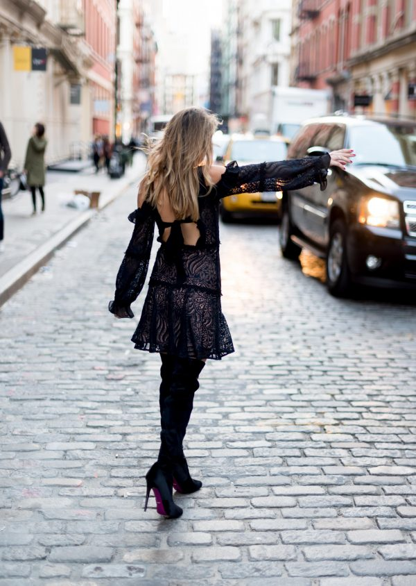 Whitney's Wonderland NYC Top Fashion Blogger wears For Love & Lemons lace ruffled black dress and Kurt Geiger thigh high velvet boots in New York