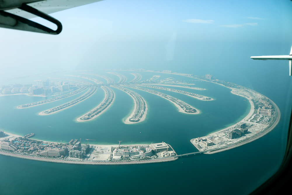 Palm Jumeirah seawings seaplane Dubai view