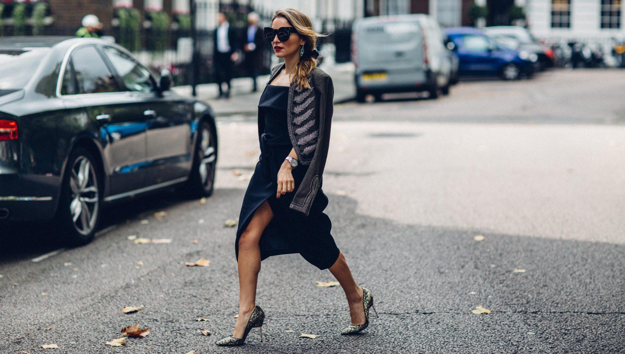 Whitney's Wonderland UK & NYC Top Fashion Blogger wears Lipsy London LBD and Free People military jacket