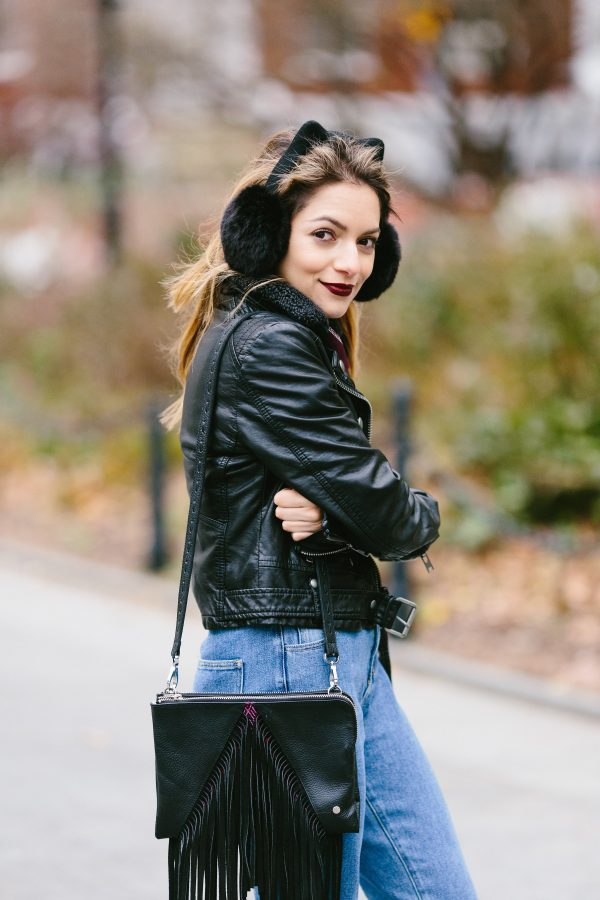 Whitney's Wonderland NYC Top Fashion Blogger wears Kate Space kitty earmuffs, Free People vegan jacket, Maria's Bag and Pacsun mom jeans
