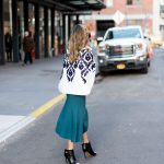 BLAZER CAPE AND KNITTED SKIRT IN NYC