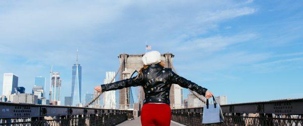 Whitney's Wonderland UK Top Fashion Blogger wears Niler London bespoke leather jacket in Brooklyn Bridge