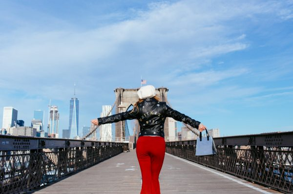 Whitney's Wonderland UK Top Fashion Blogger wears Niler London bespoke leather jacket in Brooklyn Bridge