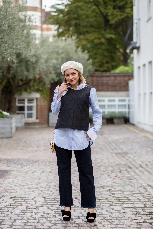 Whitney's Wonderland UK Top Fashion Blogger wears N12H Top, Boden oversized shirt, Lost Ink jeans and Kurt Geiger velvet heeled sandals