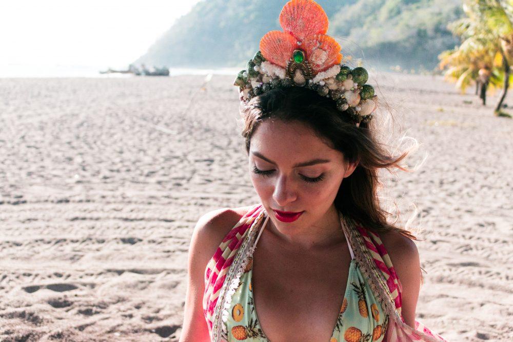Whitney's Wonderland Costa Rican and UK Top Fashion Blogger wears Madre Perla mermaid shell crown handmade headpiece in Jaco