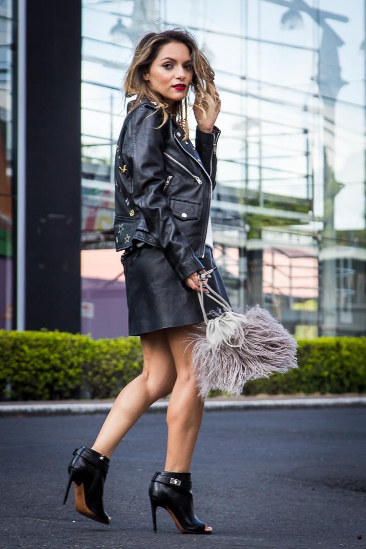 Whitney's Wonderland UK Top Luxury Fashion Blogger wears Niler London bespoke jacket, Boden leather skirt, Toribio pom pom bag and Givenchy shark ankle boots