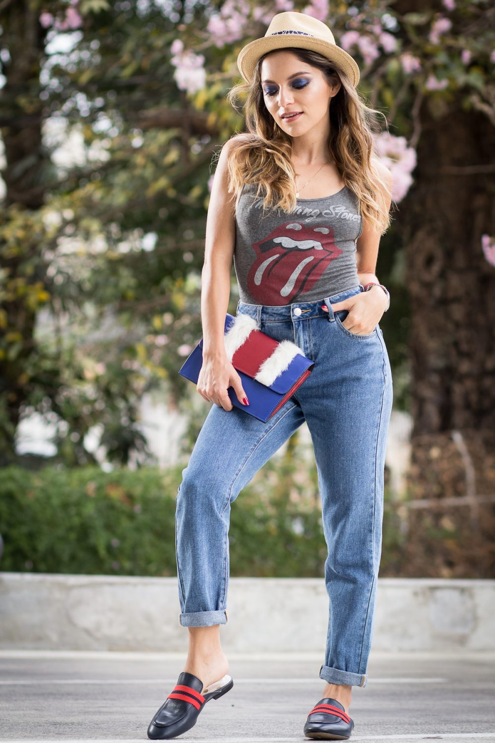 Whitney's Wonderland NYC Top Fashion Blogger wears rolling stones bodysuit, Boden espadrilles and Proud Bag