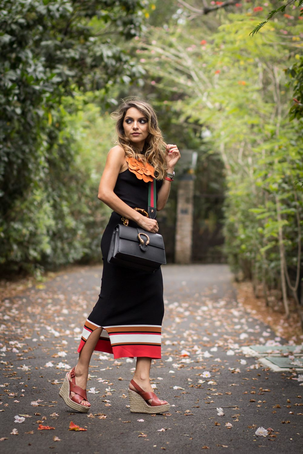 Whitney's Wonderland UK Top Costa Rican Fashion Blogger wears dionysus Gucci bag, Massimo Dutti ribbed black dress and Capodarte wedges
