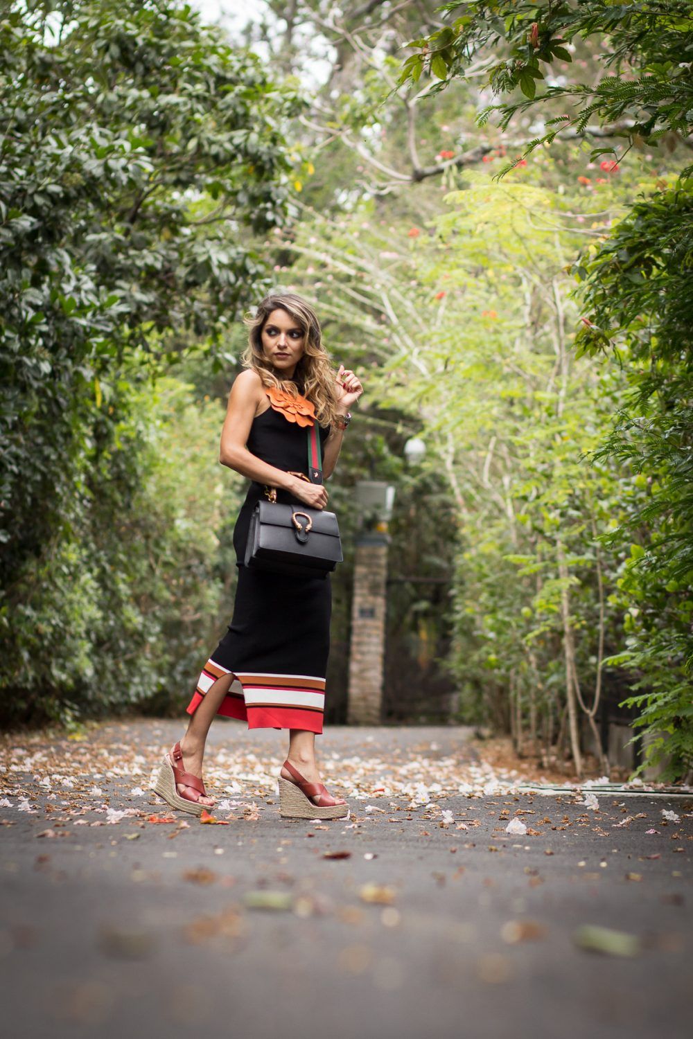 Whitney's Wonderland UK Top Fashion Blogger wears dionysus Gucci bag and Massimo Dutti striped ribbed dress