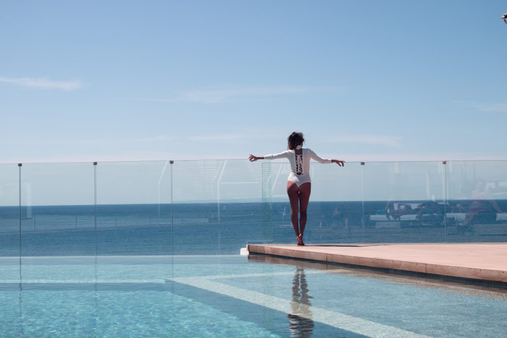 Whitney's Wonderland Top International Fashion Blogger wears Elisabetta Franchi ME Ibiza Hotel infinity pool