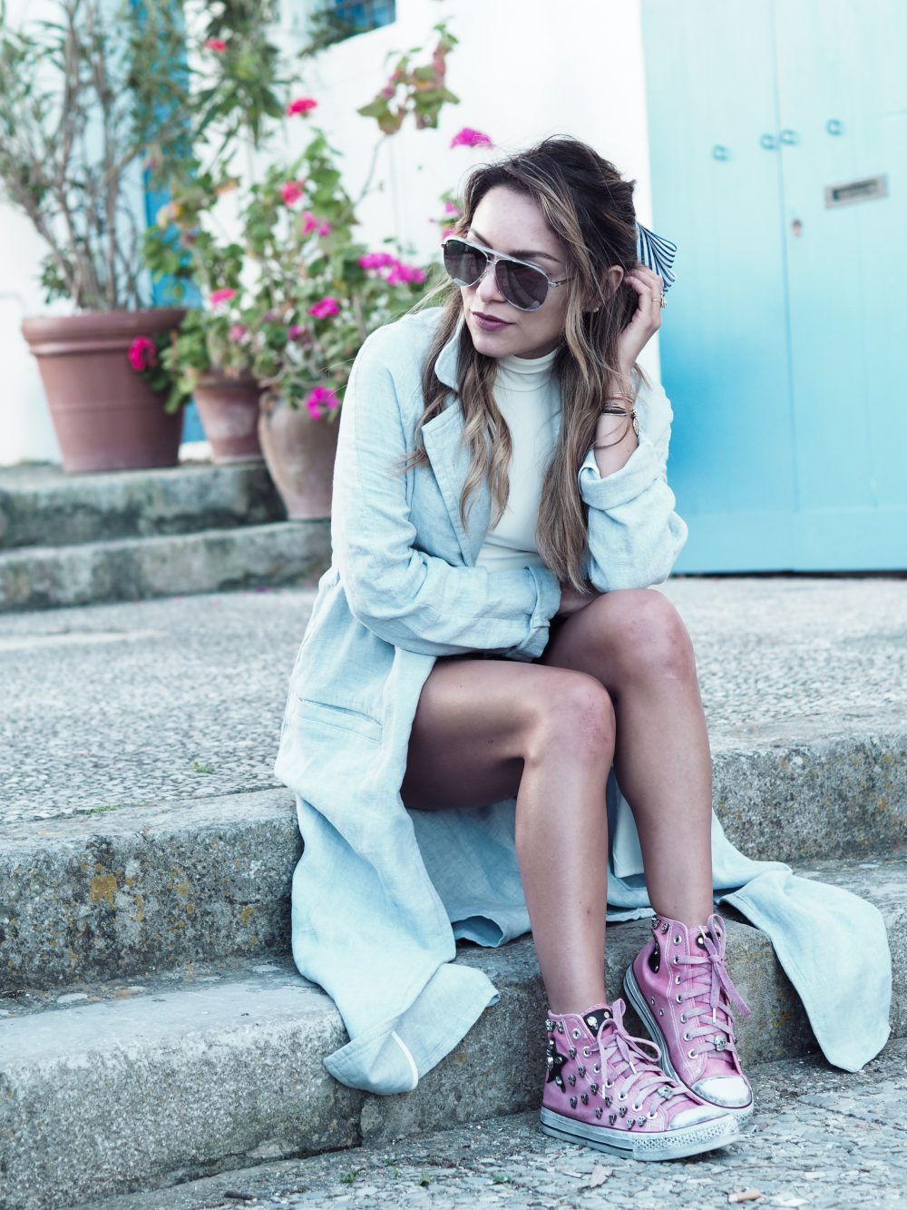 Whitney's Wonderland UK Top Fashion Blogger wears mango linen coat and Louis Vuitton sunglasses in Ibiza