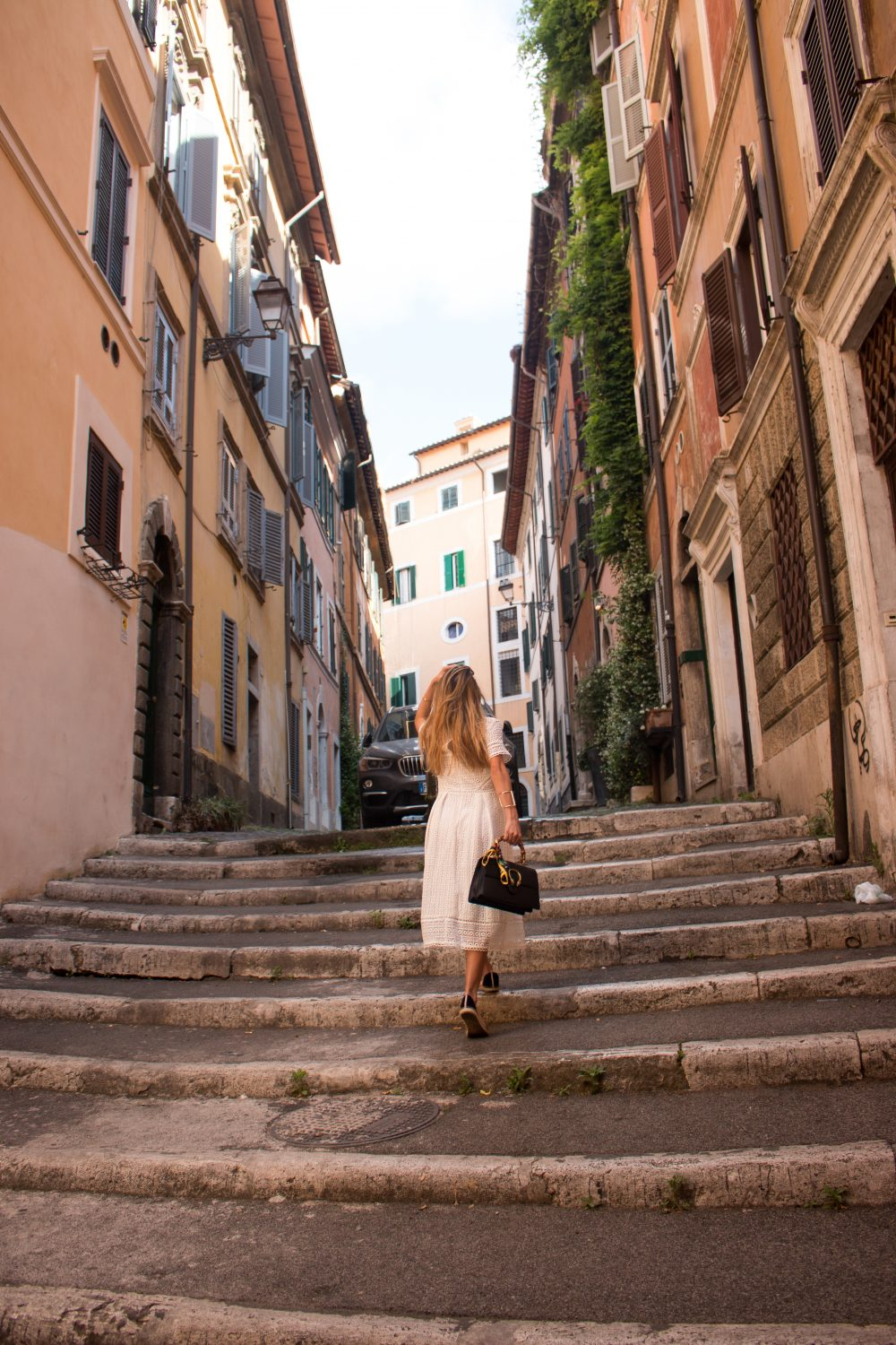 Whitney's Wonderland NYC Top Luxury Fashion Blogger wears Boden white lace midi dress and Gucci dionysus bag in Rome