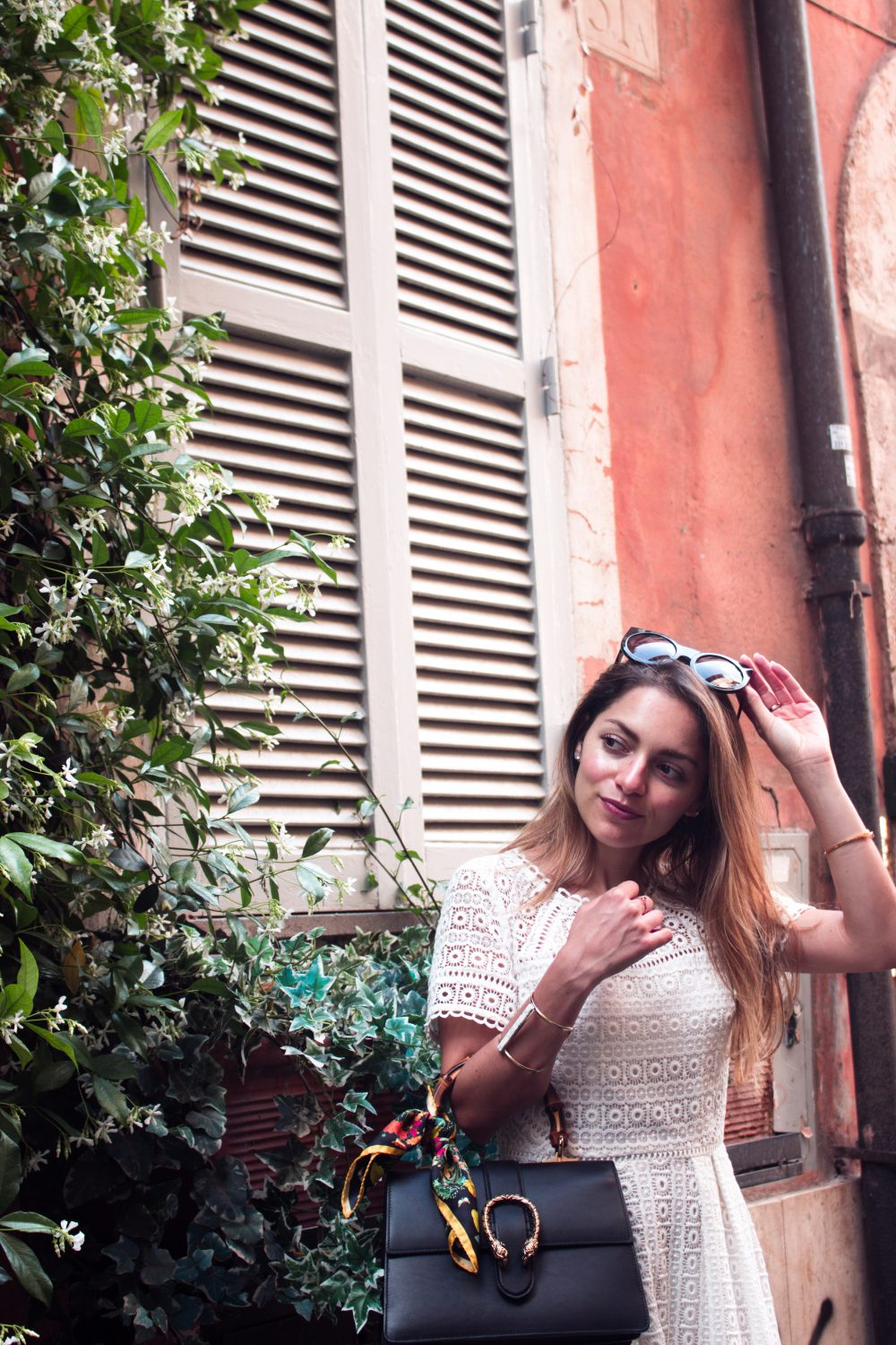 Whitney's Wonderland UK Top Luxury Fashion Blogger wears Boden white lace midi dress, Wildfox Couture granny sunglasses, and Gucci dionysus bag in Rome