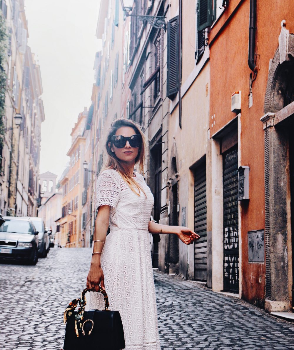Whitney's Wonderland UK Top Luxury Fashion Blogger wears Boden white lace midi dress and Gucci dionysus bag in Rome