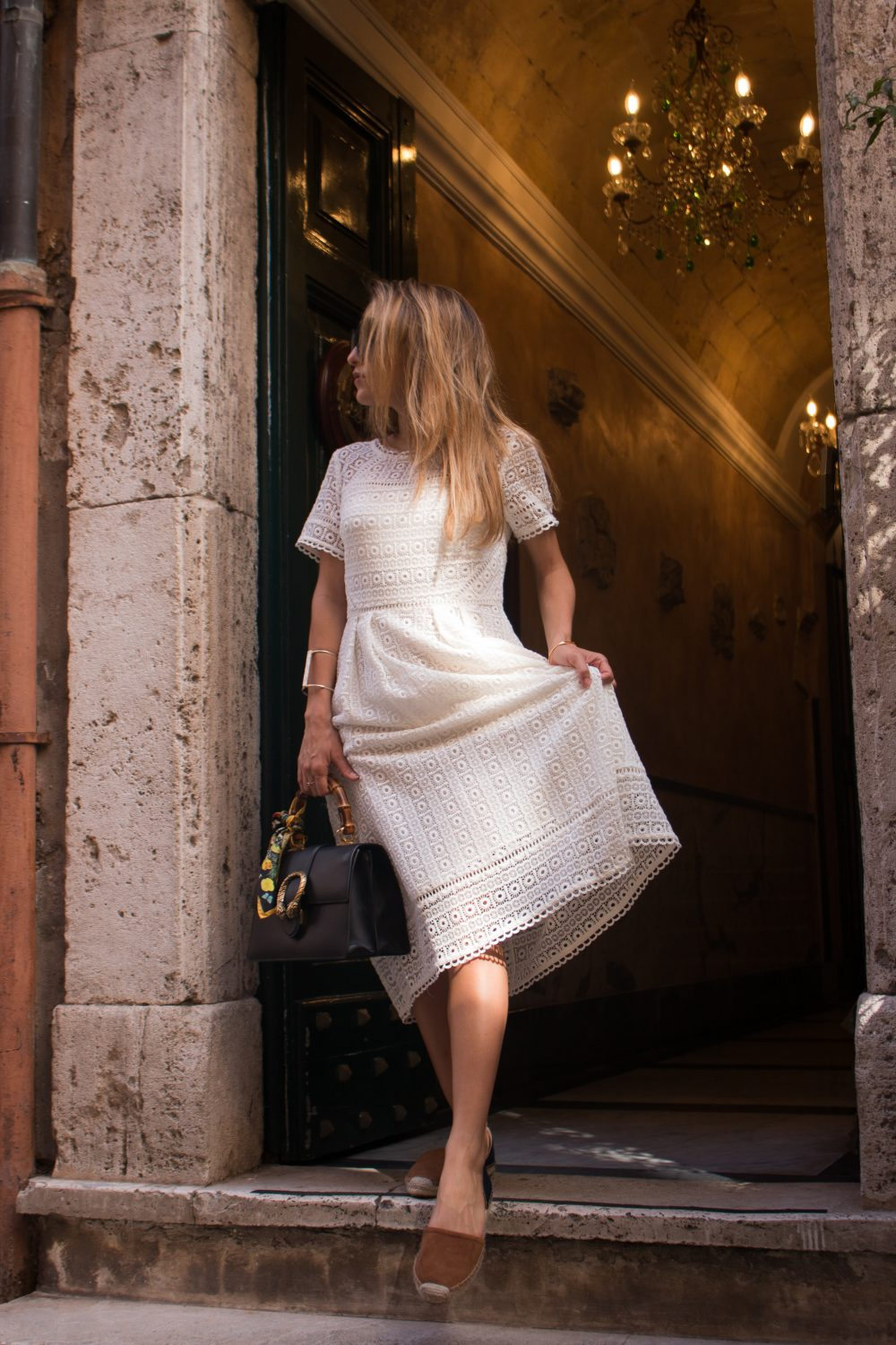 Whitney's Wonderland NYC Top Luxury Fashion Blogger wears Boden white lace midi dress, Boden espadrilles and Gucci dionysus bag in Rome