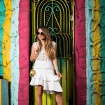 ALL WHITE LOOK IN RUFFLED SKIRT AND LACE TOP