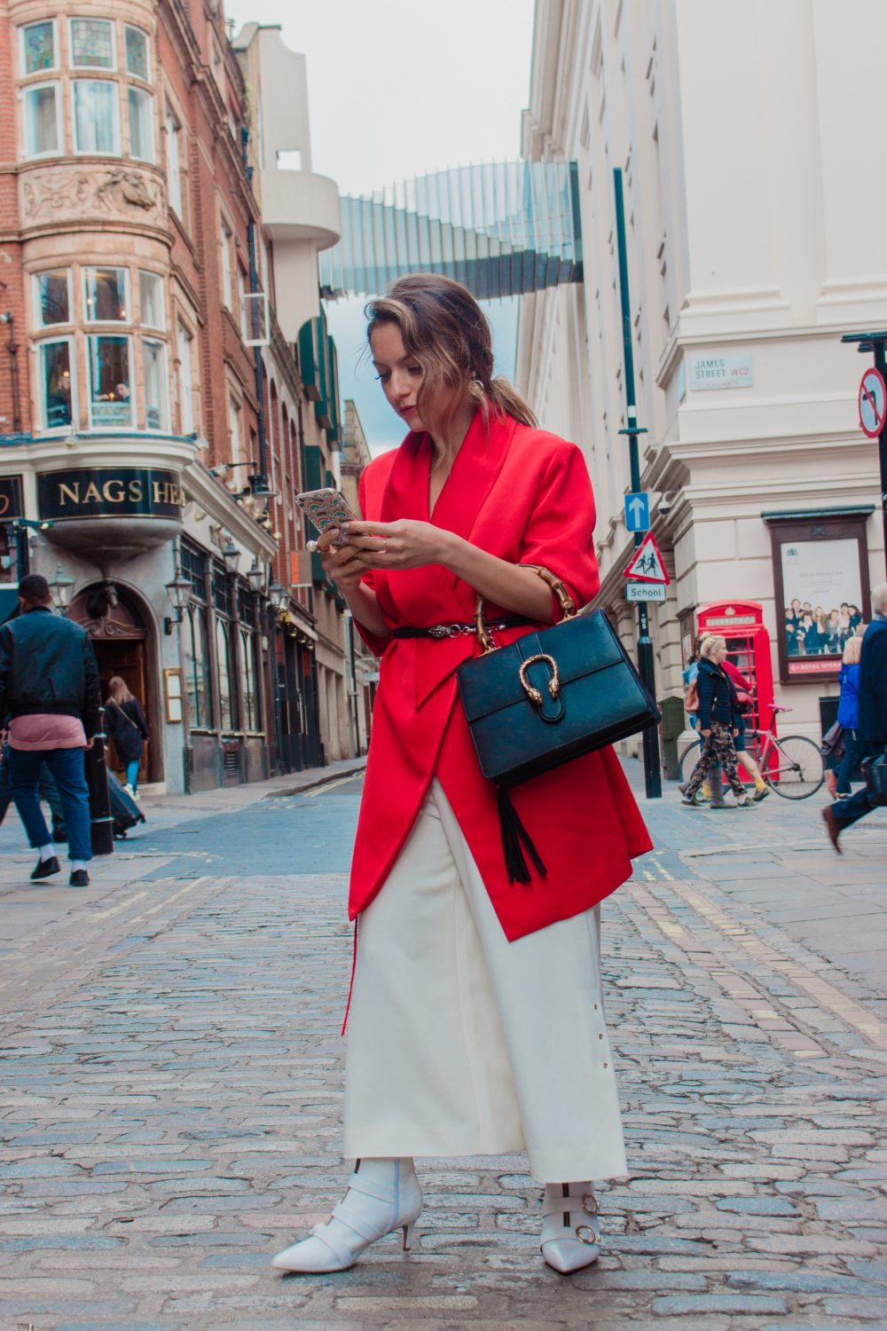 LUVON RED BLAZER AND CROP TROUSERS AT LFW