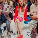 RED AND PINK COLOUR-BLOCK OUTFIT FOR LFW SS18