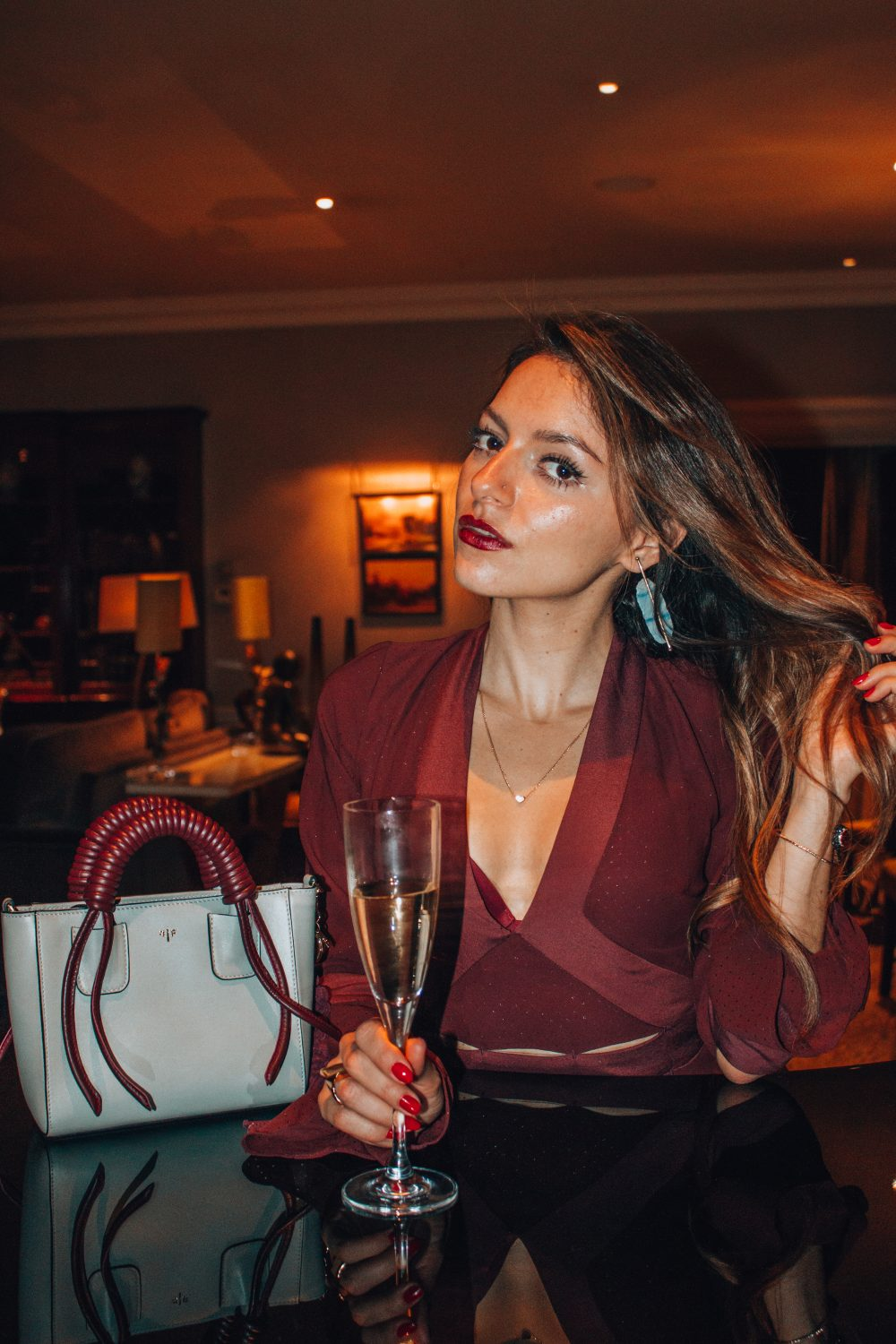 Whitney's Wonderland UK Top Luxury Fashion Blogger weas Isla Fontaine bag and earrings